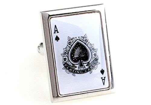 MRCUFF Presentation Gift Box Ace of Spades White Card Poker Gambling Casino Pair Cufflinks & Polishing Cloth