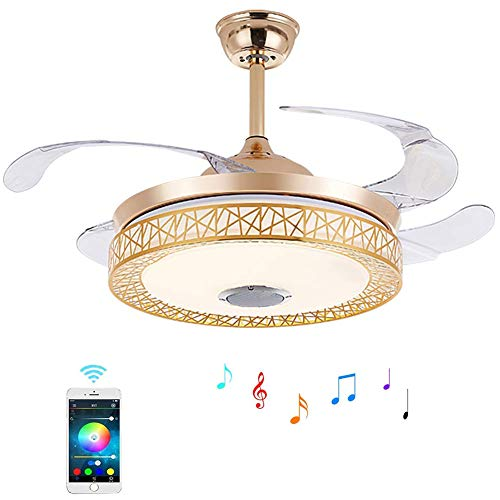 Luolan 42 Inches Retractable Ceiling Fan Light With Remote