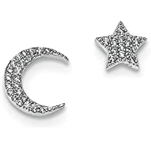 ICE CARATS 925 Sterling Silver Cubic Zirconia Cz Star Moon Post Stud Earrings Celestial Fine Jewelry Ideal Gifts For Women Gift Set From Heart