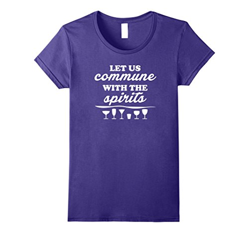[Womens Let us Commune with the Spirits Funny Pun Halloween Tshirt XL Purple] (Plus Size Mystic Witch Costumes)