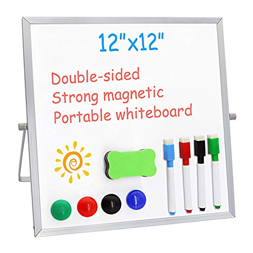 "Small Dry Erase Board for Desk 12"" X 12"",Double Sided Whiteboard Includes 4 Magnetic Pens, 4 Magnetic Piece and 1 Dry Eraser, for Kids, Home, Office, School"