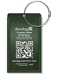 Dynotag® Web/GPS Enabled QR Smart Aluminum Convertible Luggage Tag w. Steel Loop in Six Colors (Green)
