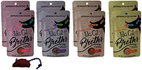 Tiki Cat Grain Free Cat Food Topper Treat Broths 4 Flavor Variety 8 Pouch with Catnip Toy Bundle, 2 Each Salmon, Duck Chicken, Beef, Chicken 1.3 Ounces