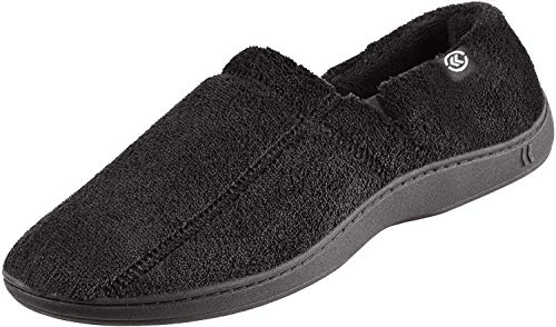 ISOTONER Men's Microterry Slip On Slipper, Black, X-Large / 11-12 US