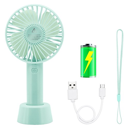 Handheld Fan, COO Mini Portable Fan 3 Speeds Desk Fan with USB Rechargeable 2600mAh Battery Small Personal Fan for Office Outdoor Sport Household Traveling Camping (Blue) by COO