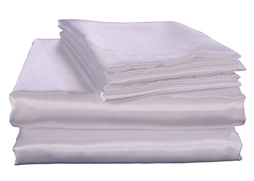 Honeymoon Luxury Satin Bed Sheet Set, Ultra Silky Soft, Full – White