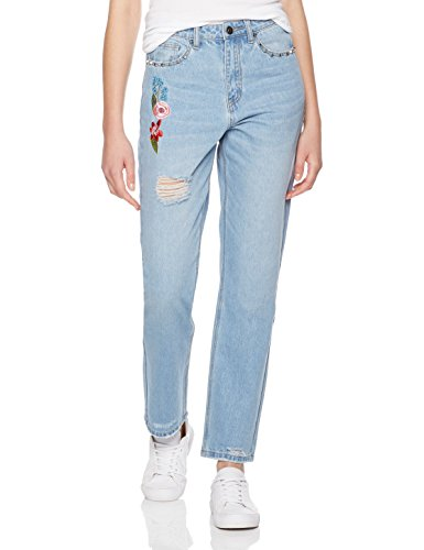 Lily Parker Women's High Waist Flower Embroidered Destroyed Ripped Jean 30 Light Blue - Juniors Embroidered Pocket Jeans