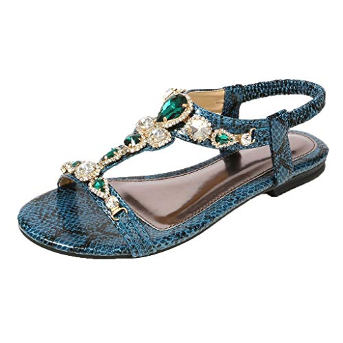 ◕‿◕Watere◕‿◕ Women Bohemian Ethnic Sytle Snake Print Breathable Sandals Roman Shoes Rhinestone Beading Flat Shoes Green]()