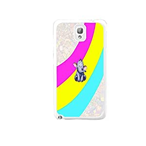 Cute Animal Print Gray Elephant Design Samsung Galaxy Note 3 N9005 Case Cover Colorful Stripes Customized Hard Plastic Cell Phone Skin