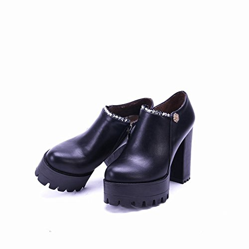 Ankle Heel Zip Black Platform Boots Block Modern Carolbar Women's Western Px0gwqAX