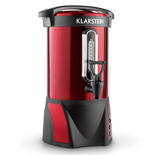 Klarstein Bacchus Weihnachtsmarkt Glühweinkocher Thermoisolierter Getränkespender Heißwasser Getränkeautomat mit einstellbarer Temperatur (6,8l, Edelstahl, rot tragbar