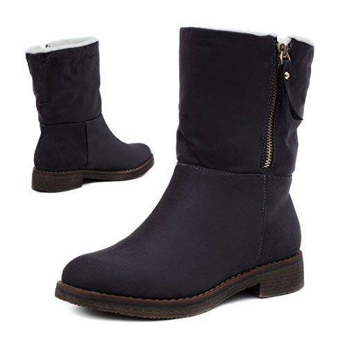 ef2db73900ce Damen Stiefel Biker Ankle Boots mit Nieten Strass in hochwertiger  Lederoptik gefüttert Grau Boston ...