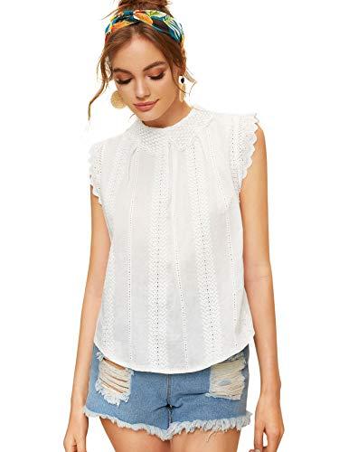 (SheIn Women's Contrast Scallop Lace Trim Pinstripe Blouse Small White)