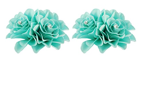 DreamLily Women's Girl Bridal Lily crystal Hair Flower Clip Barrette for Wedding Party (2 Pack of Tiffany (Tiffany Barrette)
