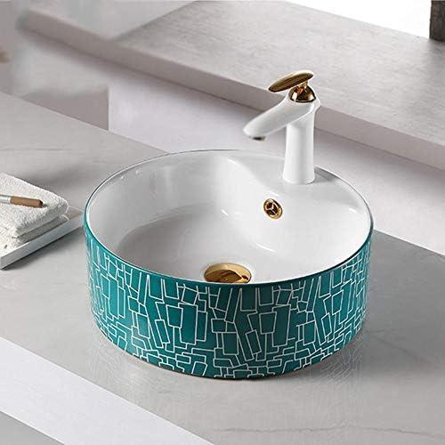 洗面ボール 現代の幾何学長方形内閣洗面所の洗面化粧台用のセラミック容器シンク浴室ボウル盆地 洗面器 (Color : Green, Size : 8005B(40x40x16cm))