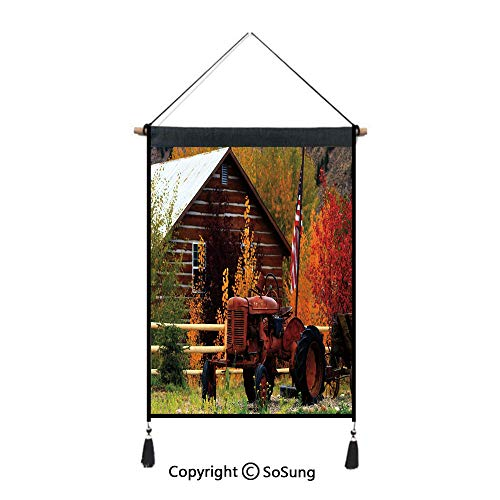 Fall Tapestry Wall Hanging,Rustic Cabin with Rusty Tractor Country Cottage House Seasonal Colors US Flag Loyalty,Home Art Decor Beautiful Apartment Dorm Room Decoration,17.7