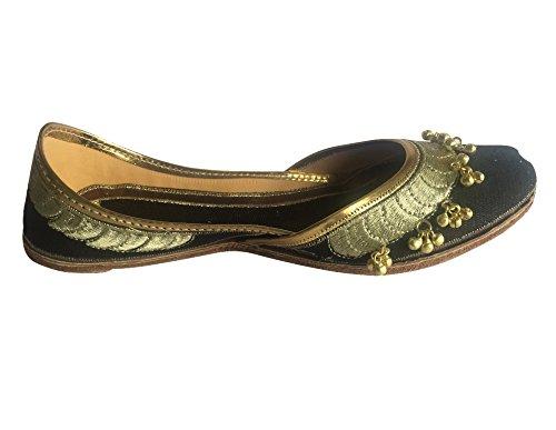 Étape N Style Femmes Noir Ghungroo Punjabi Jutti Chaussures Khussa Traditionnels Ethniques Mojari Ballet Plat Noir