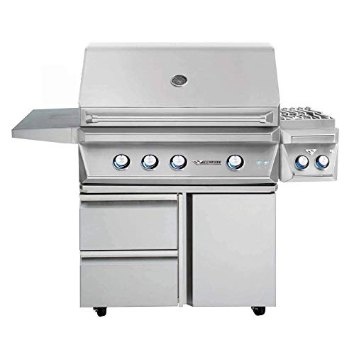 Twin Eagles Grill On Cart with Door/Drawer Combo with Rotisserie and Infrared Sear Zone Kit and Double Side Burner (TEBQ36RS-C-L-TEGB36SD-B-TESB132F-C-L), Propane, 36-Inch