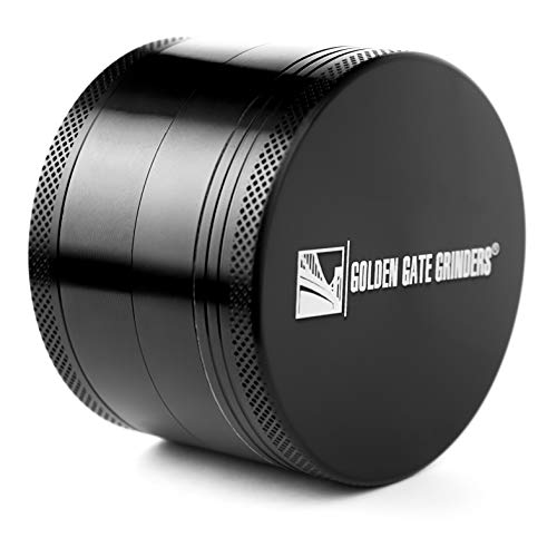 (Golden Gate Grinders #1 Best Herb Grinder 2.5 Inch 4-piece Anodized Aluminum with Pollen Catcher - Large Black)