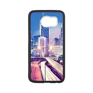 Hong Kong at Night Samsung Galaxy S6 Cell Phone Case White Delicate gift JIS_395816