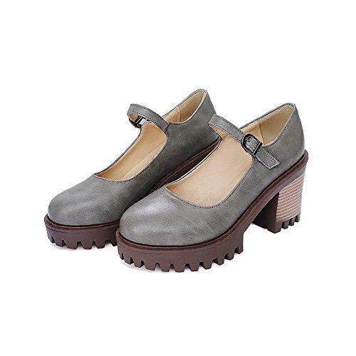 VogueZone009 Damen Rein PU Leder Hoher Absatz Schnalle Rund Zehe Pumps Schuhe Grau