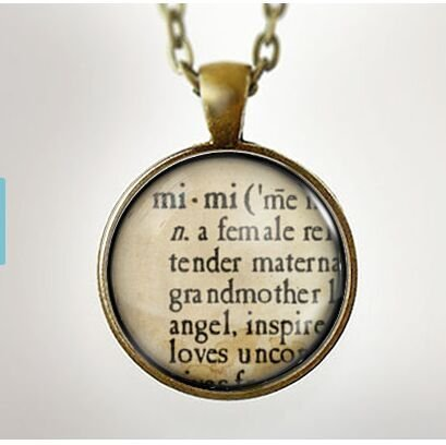 Mimi Definition : Glass Dome Necklace, Pendant or Keychain Key Ring. Gift Present metal round art (Definition Keychain)
