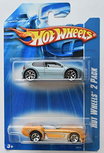 Hot Wheels 1:64 Scale die cast 2 Pack, Blue Volkswagen Golf GTI and Yellow Pony Up
