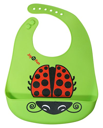 Baby Bugs Baby Bib (Green Silicone Bib for Infants Toddlers w/ Ladybug)