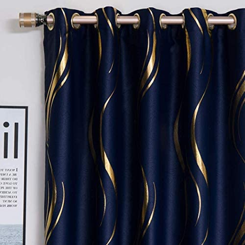 MYRU 1 Pair Blackout Curtains for Bedroom, Luxury Striped Curtains for Living Room Navy and Gold, 2 x 54 x 96 Inch