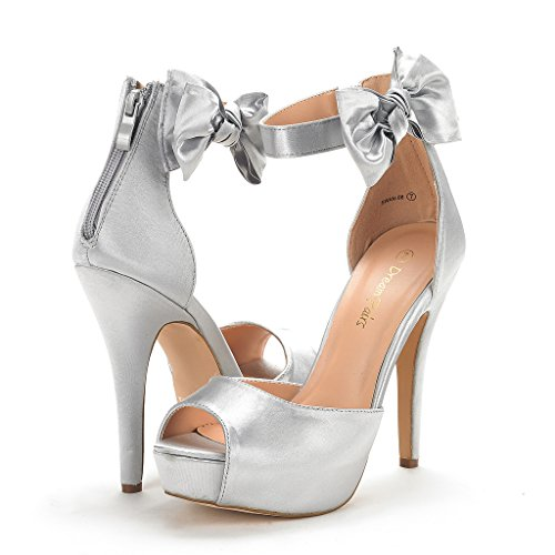 DREAM PAIRS Womens SWAN-08 Ankle Strap Heel Pump Shoes Sandals Silver stBCiB9iP