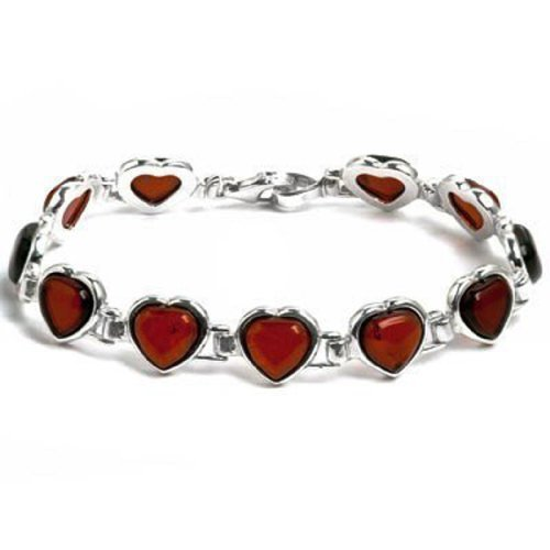 Sterling Silver Red Dark Amber Hearts Shaped Bracelet Length 7.75 Inches Graciana Amber by Graciana 8515