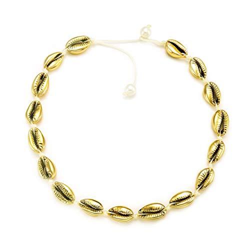 YINL Shell Choker Necklace Natural Shell Beads Handmade Hawaii Beach Choker for Girls (Gold Shell -
