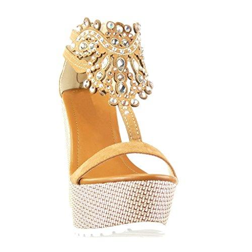 Angkorly - Scarpe da Moda sandali cinturino zeppe donna gioielli ricamo Tacco zeppa piattaforma 13 CM - Cammello