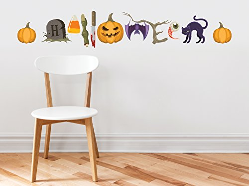 Halloween Words Fabric Wall Decals - Halloween Spelled out with Spooky Characters, with Pumpkins, Bat, Tombstone, Candy Corn, Cat, and More, Trick or Treat Wall (Holoween Decorations)