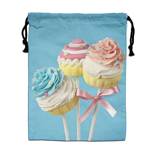 ZhiqianDF Colorful Cupcake Pops On Blue Background Sports White Gym Bag One Size Polyester Drawstring Bag