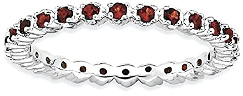 IceCarats 925 Sterling Silver Red Garnet Band Ring Size 7.00 Stone Stackable Gemstone Birthstone (Garnet Rings Clearance)