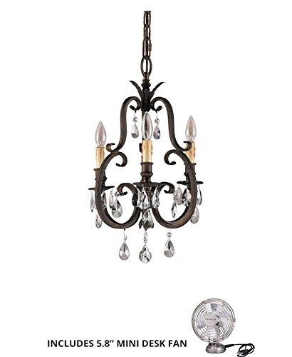 (Feiss F2226/3ATS, Salon Maison Mini Crystal Chandelier Lighting, 3LT, 180watt, Tortoise (Includes Mini Desk Fan) )