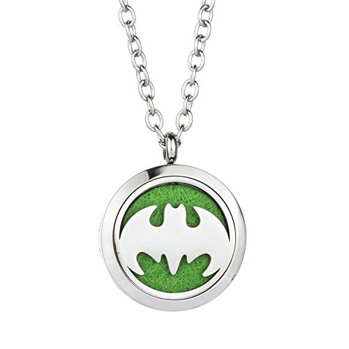 Batman Fragrance Essential Oil Diffuser Necklace - 316L Hypoallergenic Stainless Steel Aromatherapy Pendant Jewelry - for Boy, Men, Children Gift By Jenia