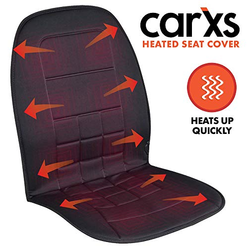 carXS Heated Car Seat Cushion - Universal 12V Padded Car Seat Heater with Dual Heat Settings & Switch - Quick Heating Seat Cover for Car and Truck (Black) (2002 Jeep Grand Cherokee Heated Seats Not Working)