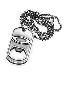 Oakley Men's Metal Chain Bottle Opener Dog Tag Necklace - Antique Silver