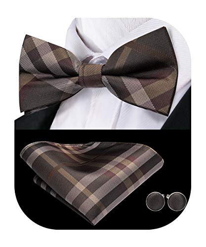 Dubulle Bow Ties for Men Pre tied Brown Plaid Bowtie and Handkerchief Cufflinks Set