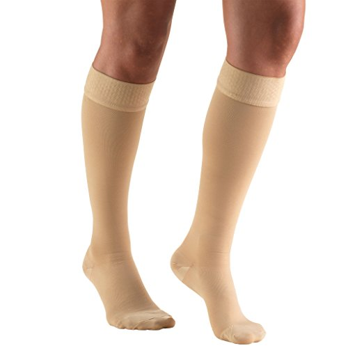 Truform 20-30 mmHg Compression Stockings for Men and Women, Knee High Length, Dot Top, Closed Toe, Beige, X-Large (20-30 mmHg)