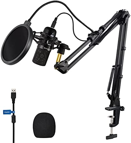 FDUCE USB Gaming Microphone kit, Condenser Microphone for PC 192Khz/24Bit Mic with Boom Arm, Plug & Play Design, Professional Mic Bundle for Games, YouTube, Podcast, Recording and Streaming, X9