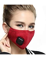 Reusable Dustproof Mask - Activated Carbon N95 Dust Mask PM2.5 Windproof Foggy Haze Pollution Respirator with Valve Replaceable Filters(Red, Woman)