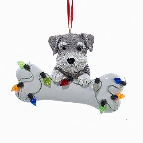 Kurt Adler Schnauzer Puppy with Large Bone and Christmas Lights Ornament Dog Pet A1680SC (Schnauzer Ornament Christmas)