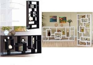 Contemporary Modern Display Shelves Cabinet Unit Bookcase Room Divider Espresso Or