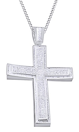 Round Cut Cubic Zirconia Cross Hip Hop Pendant in 14k White Gold Over Sterling Silver (2.45 Cttw) by AFFY