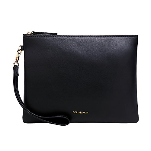 Soft Lambskin Leather Wristlet Clutch Bag For Women Designer Large Wallets With Strap (Black) ()