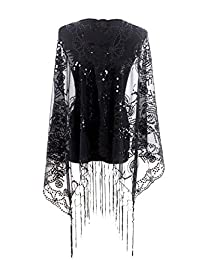 MissShorthair Women's 1920s Scarf Mesh Sequin Wedding Cape Evening Shawl Wrap
