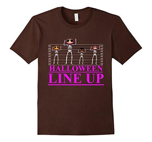 Mens Funny Halloween Line Up Skull Tshirt Medium (Funny Halloween Custumes)